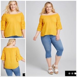 Lane Bryant Mustard Yellow Peasant Blouse Top Lace